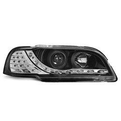 Coppia di fari a Led stile luce diurna Volvo S40 / V40 96-00 Neri