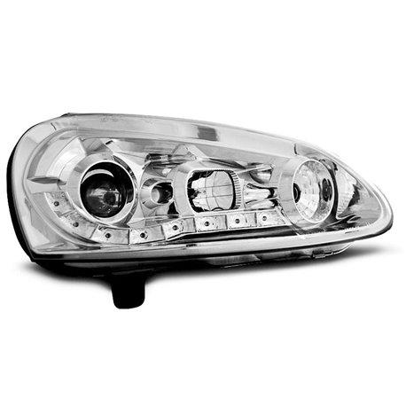 Coppia di fari a Led stile luce diurna Volkswagen Golf V 03-09 Chrome