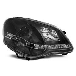 Coppia di fari a Led stile luce diurna Volkswagen Polo 9N3 05-09 Neri