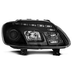 Coppia di fari a Led stile luce diurna Volkswagen Touran / Caddy 03-06 Neri