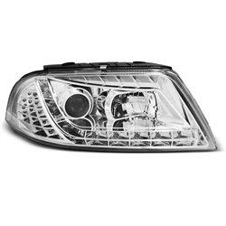 Coppia di fari a LED stile luce diurna Volkswagen Passat 3BG 00-05 Chrome