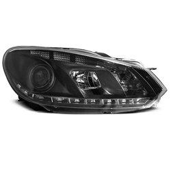 Coppia di fari DRL vera luce diurna Volkswagen Golf VI 08-12 Neri