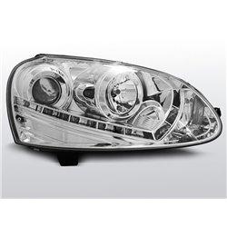 Coppia di fari a Led stile luce diurna e Xenon Volkswagen Golf V 03-08 Chrome