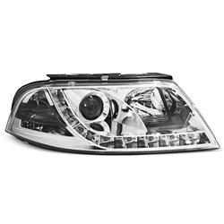 Coppia di fari a Led vera luce diurna Volkswagen Passat 3BG 00-05 Chrome