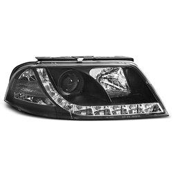 Coppia di fari DRL vera luce diurna Volkswagen Passat 3BG 00-05 Neri