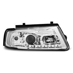 Coppia di fari a Led stile luce diurna Volkswagen Passat B5 3B 96-00 Chrome