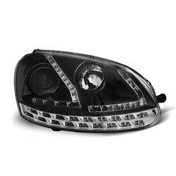 Coppia di fari a Led stile luce diurna Volkswagen Golf V 03-08 Neri