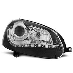 Coppia di fari a Led stile luce diurna Volkswagen Golf V 03-09 Neri