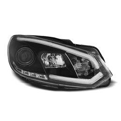 Coppia di fari DRL vera luce diurna con tubo fibra ottica Volkswagen Golf VI 08-12 Neri