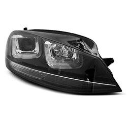 Coppia di fari U-Led DRL vera luce diurna Volkswagen Golf VII 12- Neri