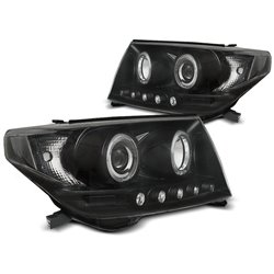 Fari Angel Eyes Toyota Land Cruiser FJ200 07-12 Neri