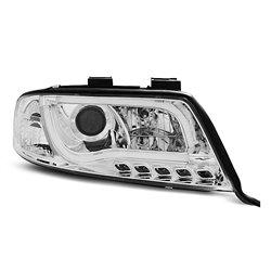 Fari Led stile luce diurna con tubo fibra ottica Audi A6 C5 01-04 Chrome