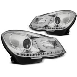 Coppia di fari Tube Light Mercedes Classe C W204 11-14 Chrome