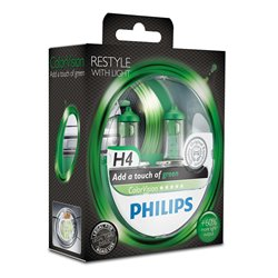 Lampada alogena Philips H4 ColorVision Green 12V 55W