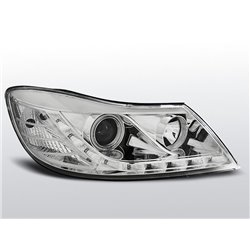 Fari Led stile luce diurna Angel Eyes CCFL Skoda Octavia II 09-12 Chrome