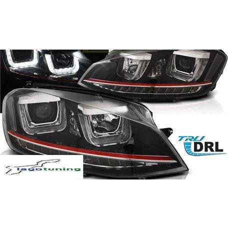 Coppia di fari DRL U-type per Volkswagen Golf VII 12-17 Neri
