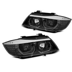 Fari LED Angel Eyes 3D BMW Serie 3 E90 / E91 Neri