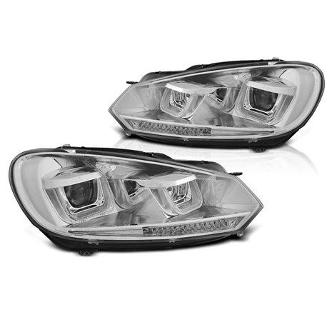 Fari anteriori DRL U-Type e DTS Volkswagen Golf VI 08-12 Chrome