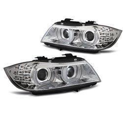 Fari Xenon Led 3D DRL  BMW Serie 3 E90 / E91 09-11 Chrome