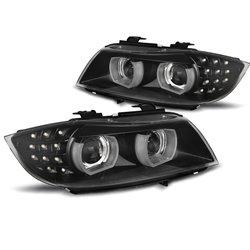 Fari Xenon Led 3D DRL  BMW Serie 3 E90 / E91 09-11 Neri