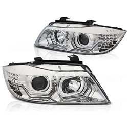 Fari Xenon Led 3D DRL  BMW Serie 3 E90 / E91 05-08 Chrome
