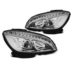 Coppia di fari Tube Lighte DTS Mercedes Classe C W204 07-10 Chrome