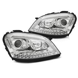 Coppia di fari a Led stile luce diurna e DTS Mercedes Classe M W164 05-07 Chrome