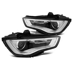 Fari Led vera luce diurna con tubo fibra ottica Audi A3 8V 12-16 Neri
