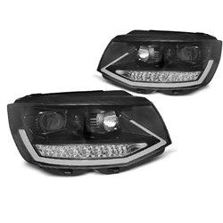 Coppia di fari DRLvera luce diurna con tube light e DTS Volkswagen T6 2015- Neri